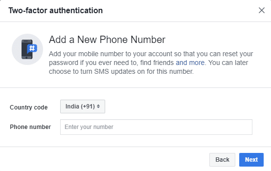 In the next step, your phone number will be asked if you have chosen the Text message option. Enter the phone number and click on the next button.