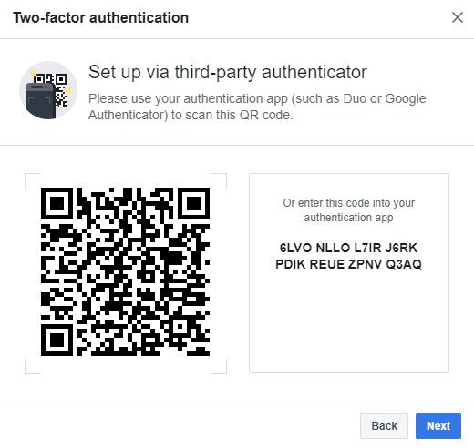 If your third party app is not available to scan the QR code, then you can also enter the code given in the box next to the QR code.