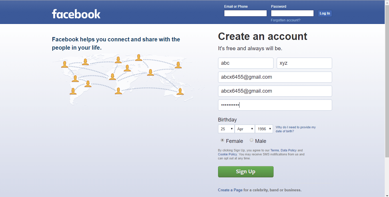 create an account, Enter the details like First name, Surname, Mobile number or email address, password, Birthday, gender.