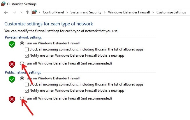Turn Off the Defender Firewall both for Private and Public Networks by clicking on the button next to Turn off the Windows Defender Firewall option.