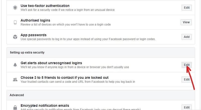 Under Setting up extra security, click on the Edit button next to the Get alerts about unrecognized logins option .