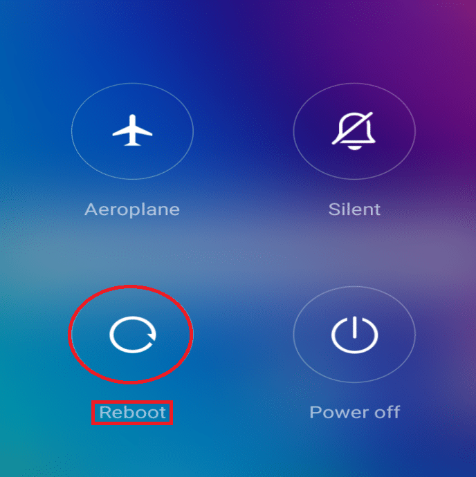ress the Power button to open the menu, which has the option to Restart the device. Tap on the Restart option.