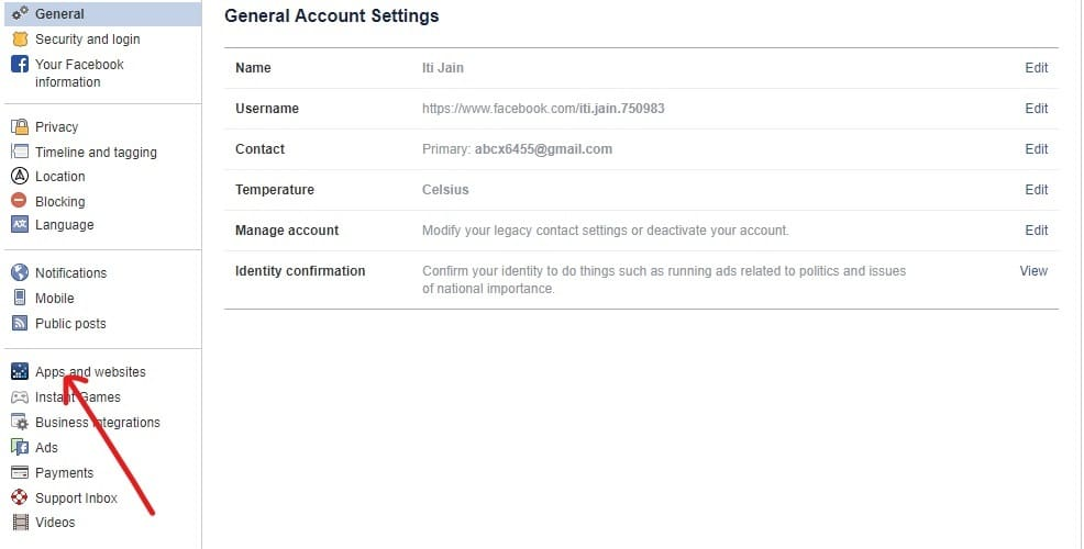 Click on Apps and websites option from the left panelin facebook settings tab