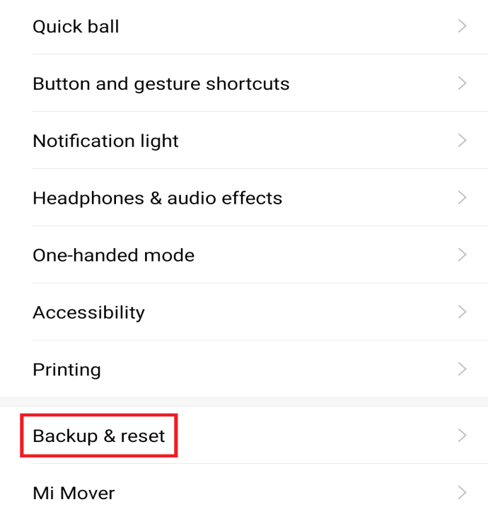 Search for Factory Reset in the search bar or tap on backup and reset option from the settings menu.