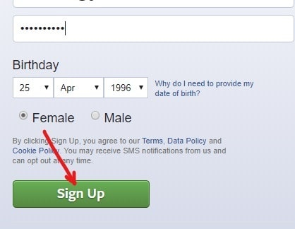 After filling the details click on Sign Up button in facebook
