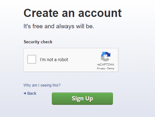 Security check dialog box will appear. Check the box next to I'm not a robot.