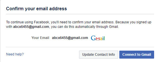 You will be asked to confirm your email address.