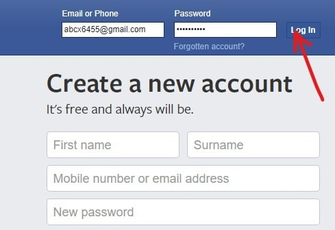 You need to login to your Facebook account by entering your email address or phone number and then the password. Once you enter all the details, click on the login button next to the password box.