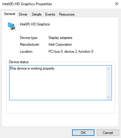 If the device is working correctly, then it will show the device working message properly under Device status, as shown below. in general tab of graphic properties.