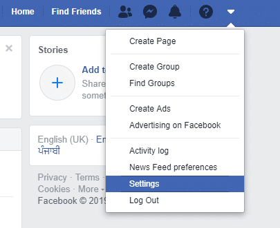 Choose settings option from the dropdown menu on the right top corner.