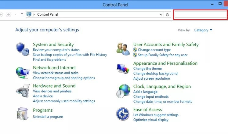 Type troubleshooter in the search bar on the top right corner of the Control Panel screen.