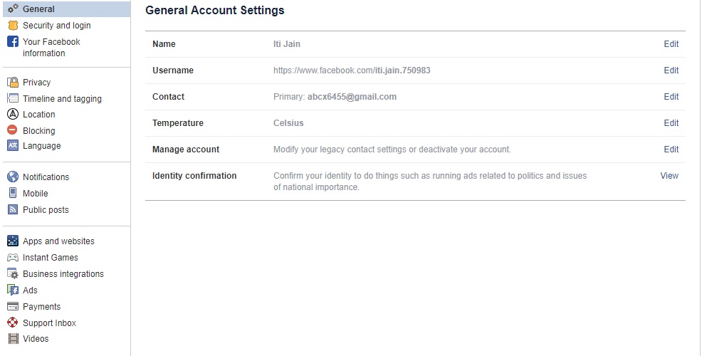 The settings page will open up.