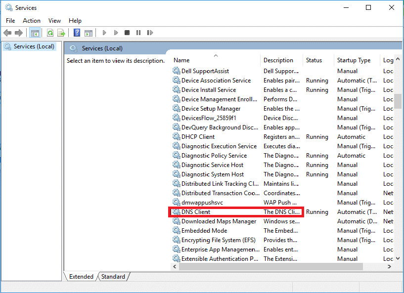A Services Window will open, locate DNS Client service.