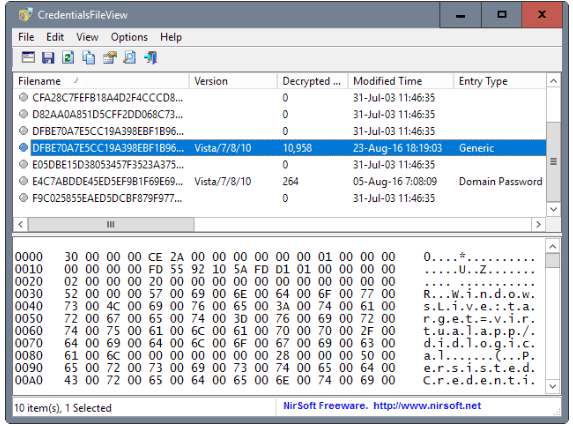 you to see the list of different credentials stored on your computer. If you are on a domain in credentialsfile view software