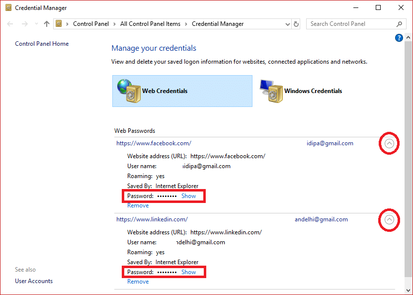 """Choose and Expand the link to see the password by clicking on the arrow button and click on the """"Show"""" link."""