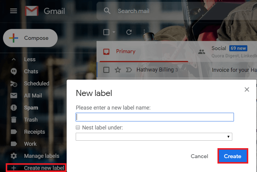 Click on 'Create new label' from the list.Type the preferred label name and click on 'Create'.