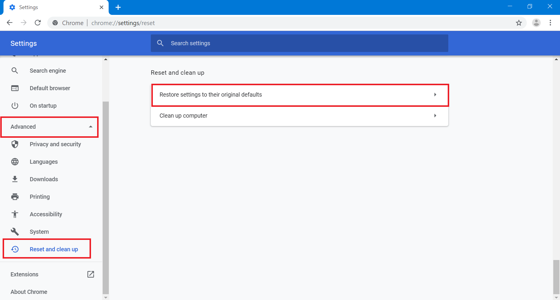 Click on the Advanced Settings option in the left navigation pane. In the list that collapses, choose the option labeled Reset & Clean-Up. Then select the option Restore settings to their original defaults.