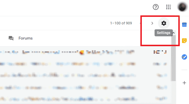 Click on the Gear-like symbol from Gmail web client