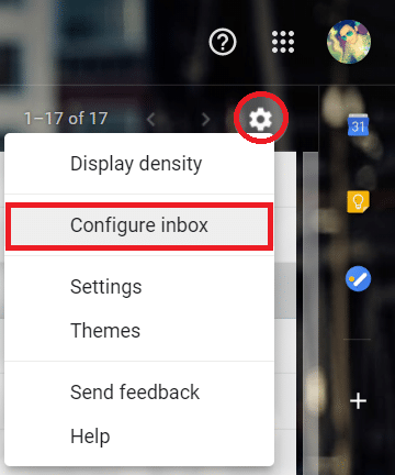 Click on the gear icon at the top right corner of the screen and select 'Configure inbox' from the list.