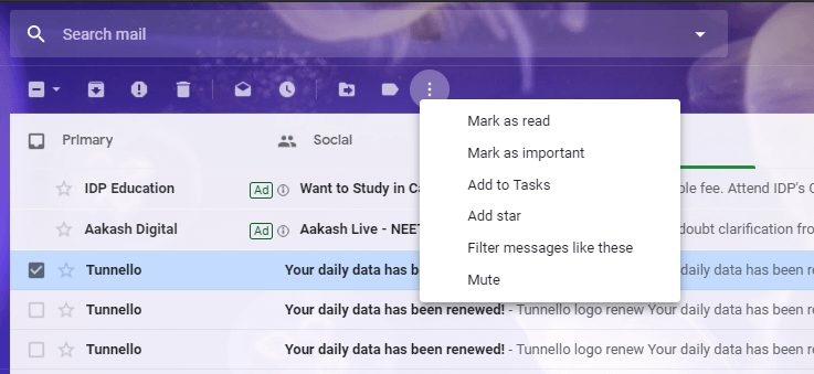 Click on the three-dot icon on the top and select 'Filter messages like these' form the list.