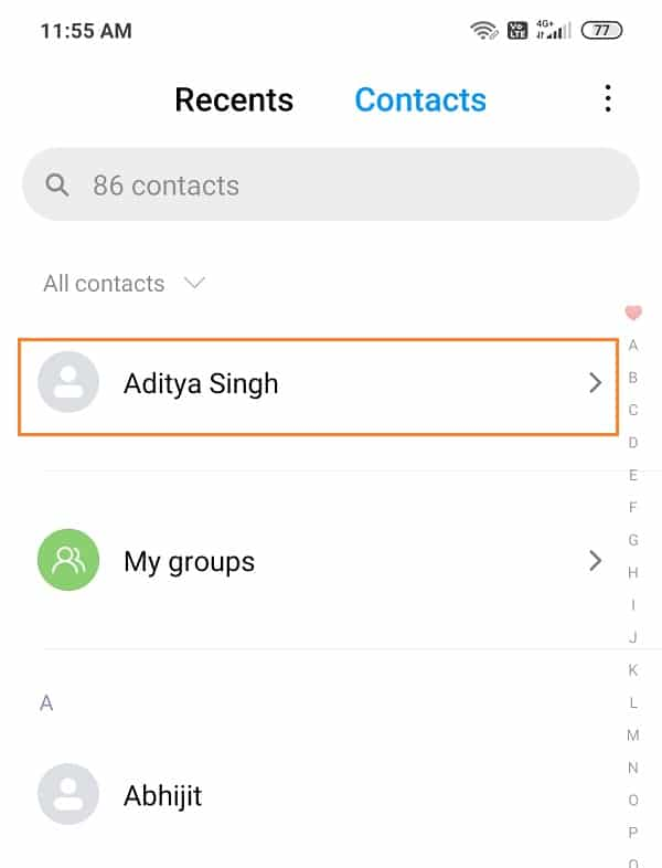 Click on your name or Me from the top of the list under all contacts list