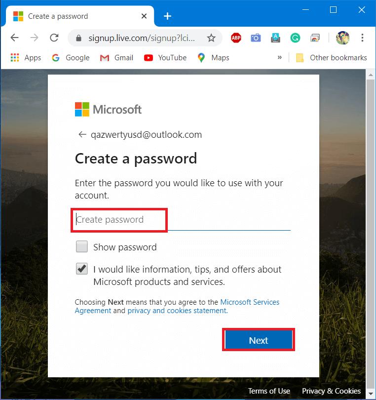 Create a strong password and enter Next.