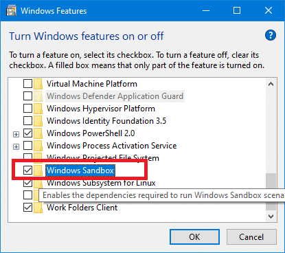 Enable or Disable Windows 10 Sandbox Feature