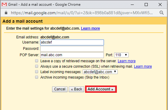 Enter the POP settings. Then click on 'Add account'.
