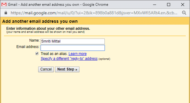 Enter your secondary email address and click on 'Next'.
