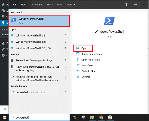 """Go to Start menu search and type """"PowerShell"""" and click on the search result"""