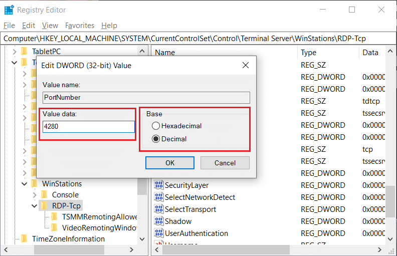 Here you will see the default port – 3389. You need to change it to another port number
