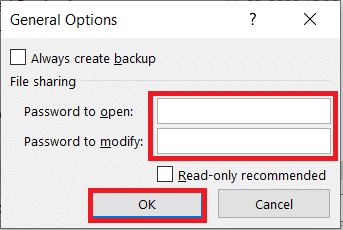 In the General Options tab leave the password to open and password to modify field empty and click on OK
