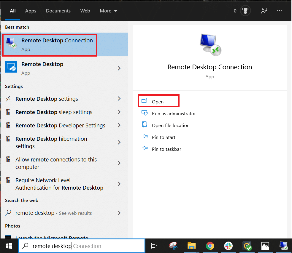 In the Start Menu Search field, type 'Remote Desktop Connection' and open | Fix: Remote Desktop Won't Connect in Windows 10