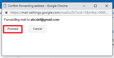 In the confirmation window, click on 'Proceed'. then Click on OK when prompt.