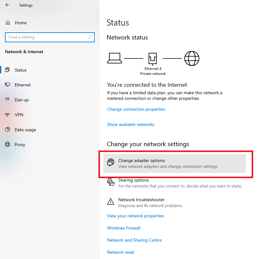 In the settings app that opens, click on Change adapter options in the right pane.