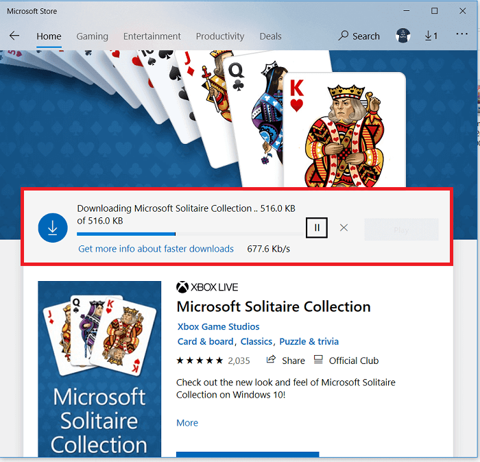 Microsoft Solitare Collection game will start downloading into your PClaptop.