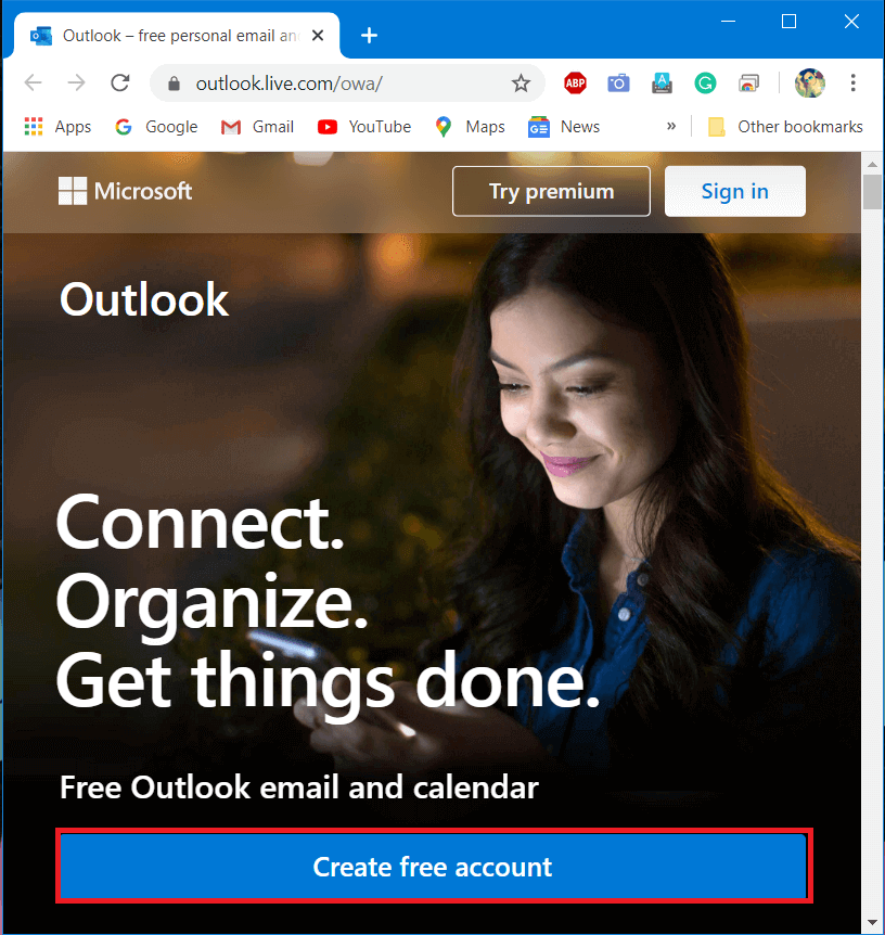 Open any web browser and go to Outlook.live.com Select Create Free Account
