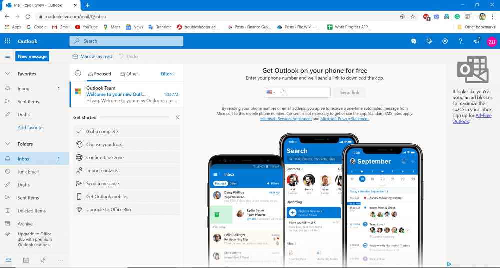 Your account is created. Outlook.com will set up your account and display a welcome page