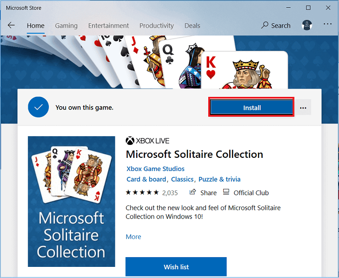 click on the Install button next to the three-dot icon on the right side of the screen.