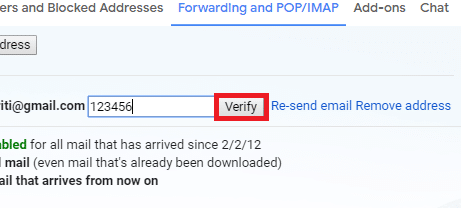 click on the link to verify or manually type the given code in your secondary account at where you had left it. Click on 'Confirm'