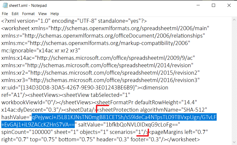 delete the entire line starting from sheetprotection….to =1.