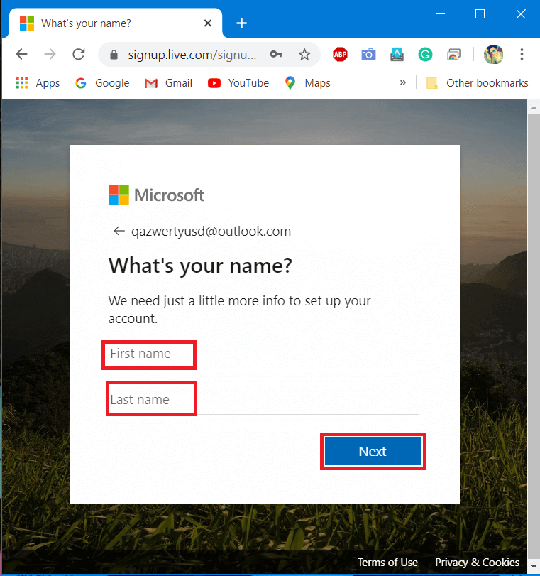 enter your first and last name where asked and click on Next.