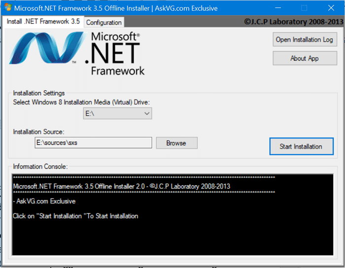 hoose the installation media location and the destination folder for the installation of .NET Framework version 3.5