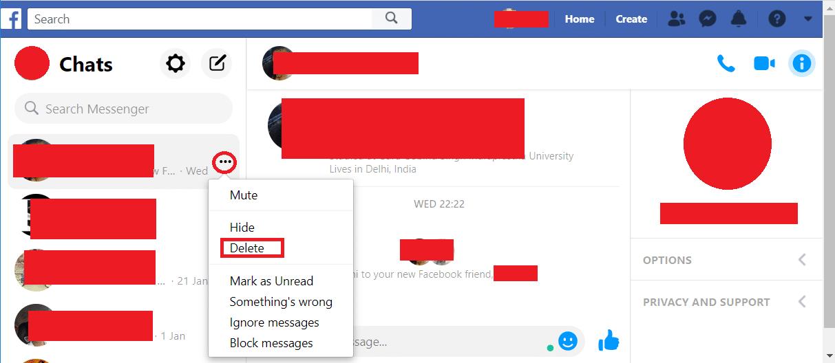 Facebook chat beidseitig löschen