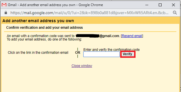 type the sent verification code in the previous window. Then click on 'Verify'.