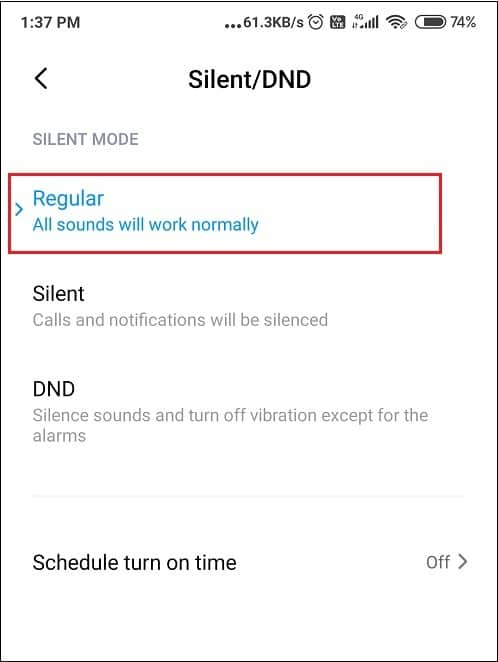 Disable DND on your Android Phone