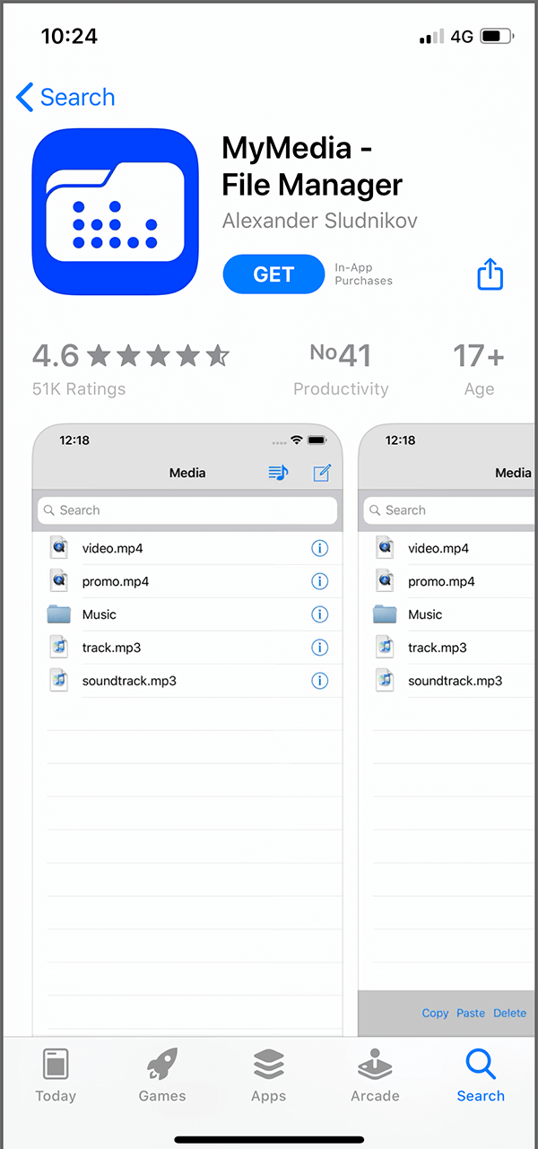 Download the 'MyMedia – File Manager' app on your iOS device