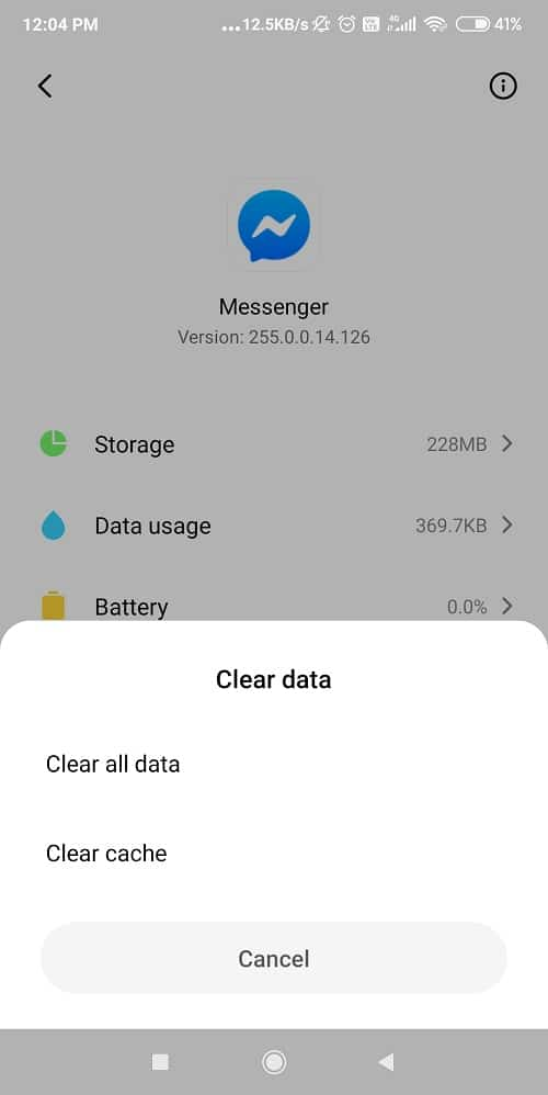 Erase Cache and Data from the Messenger