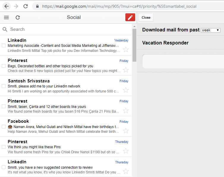 Gmail inbox will be loaded into the page