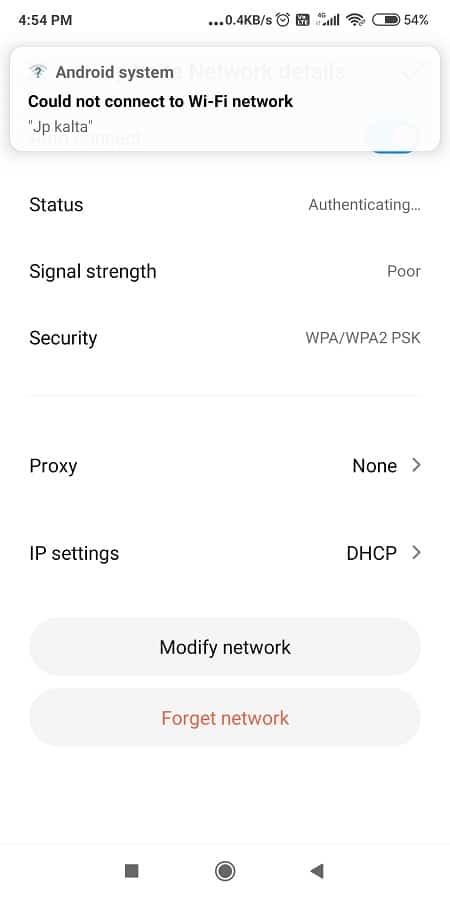 Go to Settings and Open Wi-Fi or Network Settings